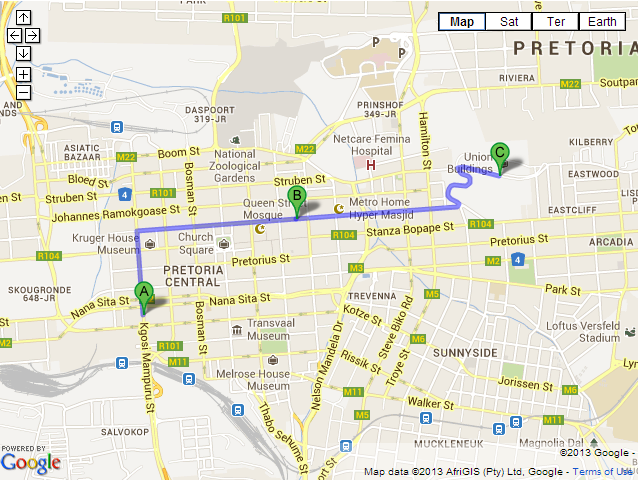 MAP Route to Union Buildings announced