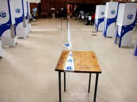 Tape of the Independent Electoral Commission (IEC) demarcates the polling station in the gang-ridden area of Bonteheuwel, Cape Town, on May 8, 2019, during South African general elections. IEC generic