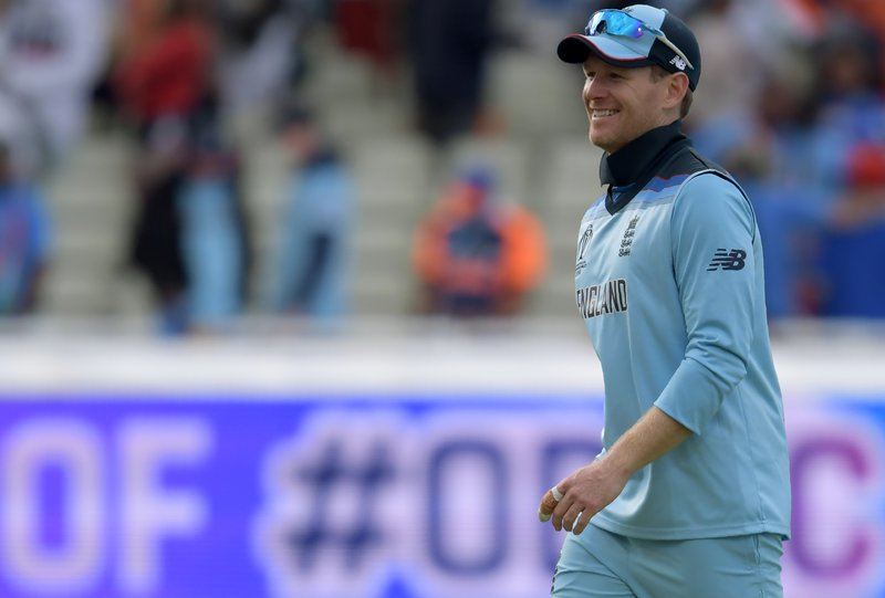 England's captain Eoin Morgan celebrates after victory in the 2019 Cricket World Cup group stage match between England and India at Edgbaston in Birmingham, central England, on June 30, 2019.  Dibyangshu Sarkar / AFP