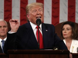 U.S. President Donald Trump delivers his State of the Union address at the US Capitol in Washington, DC, on February 4, 2020.
