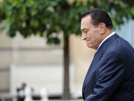 A file photo taken on August 30, 2010 shows Egyptian President Hosni Mubarak leaving the Elysee palace in Paris, after a meeting with his French counterpart Nicolas Sarkozy . Egypt's former long-time president Hosni Mubarak died on February 25, 2020, at t