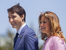In this file photo taken on June 08, 2018 Prime Minister of Canada Justin Trudeau and his wife Sophie Gregoire Trudeau arrive for a welcome ceremony for G7 leaders on the first day of the summit in La Malbaie, Quebec, Canada. The wife of Canadian Prime Mi