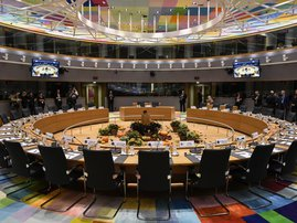 This file photo taken on October 17, 2019 shows the European Council meeting room ahead of an European Union Summit at European Union Headquarters in Brussels. A major meeting of European leaders, it is a milestone in the history of the Union: the Europea