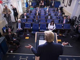 US President Donald Trump speaks during a press briefing at the White House in Washington, DC, on March 26, 2020.