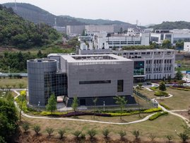 An aerial view shows the P4 laboratory at the Wuhan Institute of Virology in Wuhan in China's central Hubei province on April 17, 2020. The P4 epidemiological laboratory was built in co-operation with French bio-industrial firm Institut Merieux and the Ch