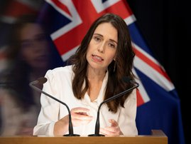 New Zealand Prime Minister Jacinda Ardern speaks during the post-Cabinet media conference at Parliament House in Wellington on April 20, 2020, where she announced the Covid-19 coronavirus lockdown level 4 will continue for another week. New Zealand will e