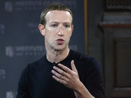 "In this file photo Facebook founder Mark Zuckerberg speaks at Georgetown University in a 'Conversation on Free Expression"" in Washington, DC on October 17, 2019. Facebook chief Mark Zuckerberg has defended his decision not to interfere with posts by US P"