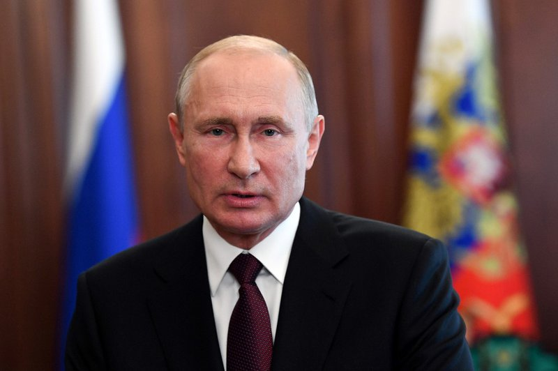 Russian President Vladimir Putin addresses school leavers and university graduates in Moscow on June 27, 2020, amid the crisis linked with the Covid-19 pandemic caused by the novel coronavirus.