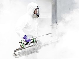 A municipal employee takes part in a disinfection operation against COVID-19 in San Jose, on July 2, 2020. The Costa Rican Ministry of Health alerted Thursday about the increase in the number of cases of the new coronavirus in the last days days and order