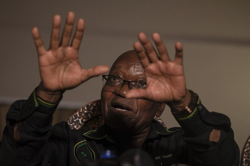 Former South African president Jacob Zuma addresses the media in his home in Nkandla, KwaZulu-Natal on July 4, 2021. South Africa's former president Jacob Zuma, ordered to surrender himself to start a 15-month jail term for contempt, said on July 4, 2021,