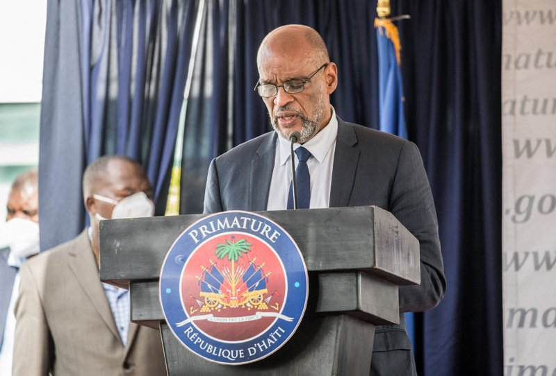 Designated Prime Minister Ariel Henry speaks during a ceremony at La Primature in Port-au-Prince, Haiti, on July 20, 2021. The ceremony comes as designated Prime Minister Ariel Henry prepared to replace interim Prime Minister Claude Joseph, after the July