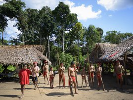 Yanomami natives prepare to perform a ritual dance at Irotatheri community, in Amazonas state, southern Venezuela, 19 km away from the border with Brazil, on September 7, 2012. The Venezuelan government on Friday agreed to lead a delegation of national an