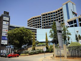A picture taken on October 20, 2010 shows the SABC (South African Broadcasting Corporation) headquarters in Johannesburg. South Africa's crisis-hit public broadcaster posted a modest profit in the first six months of the 2010 financial year after a financ