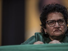African National Congress (ANC)'s Deputy Secretary General Jessie Yasmin Duarte attends the closing ceremony of the NASREC Expo Centre in Johannesburg on December 20, 2017, during the African National Congress (ANC) 54th National Conference. Cyril Ramapho