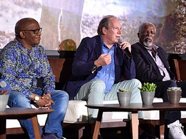 Creator/producer African vocal/choir arrangements Lebo M., Composer Hans Zimmer and actor John Kani attend the Global Press Conference for Disneys THE LION KING on July 10, 2019 in Beverly Hills, California. Alberto E. Rodriguez/Getty Images for Disney/AF