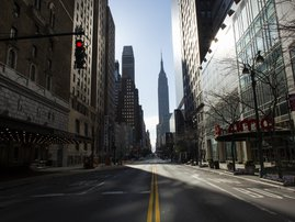 An empty 34th street is seen on on April 6, 2020 in New York City. The COVID-19 death toll in the U.S. is approaching 10,000.