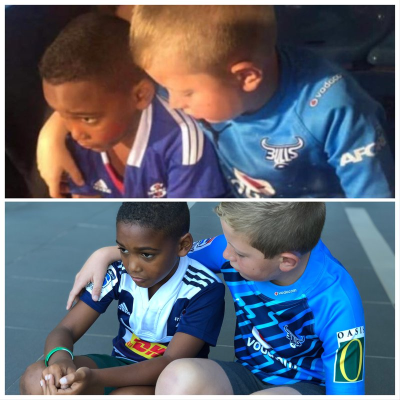 Two young rugby fans recreate viral photo on Breakfast