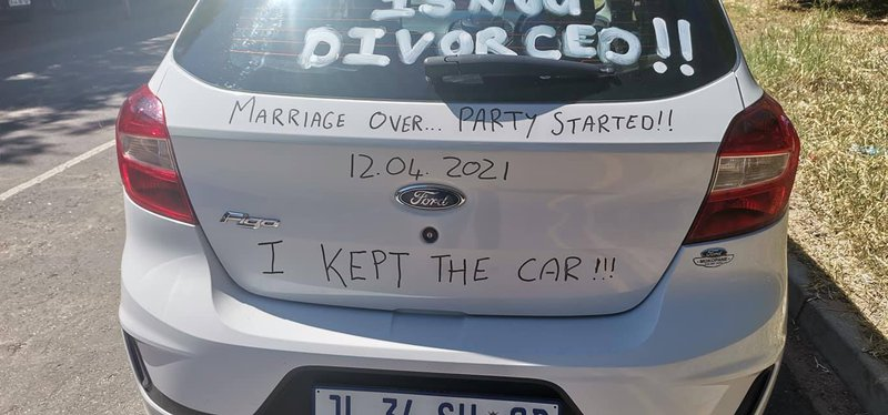 Mzansi man wants everyone to know that he is very much divorced and that he is keeping the car!