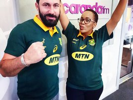 martin and tumi wearing green and gold springboks