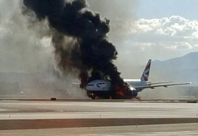 BA plane bursts into flames at Vegas Airport