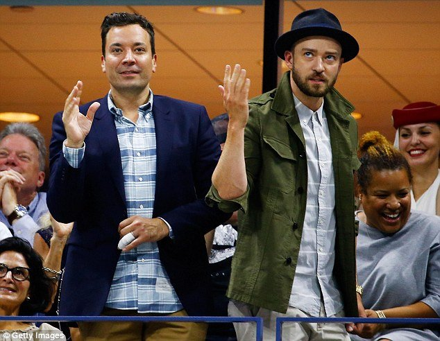 Jimmy Fallon and Justin Timberlake get involved at the US tennis open