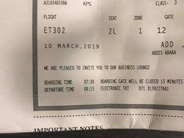 Missed Ethiopian Airlines flight