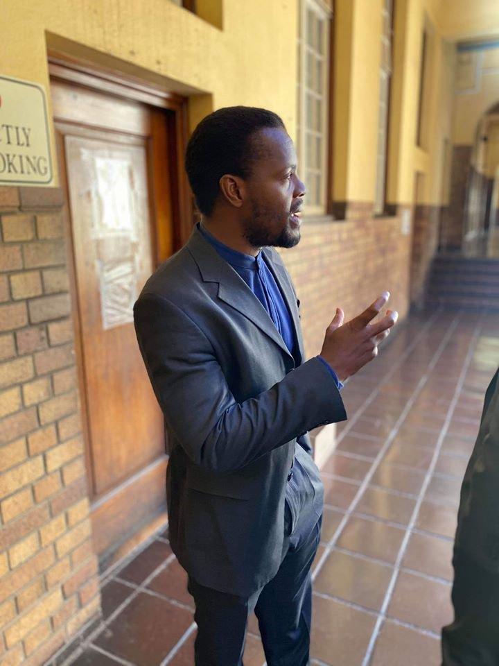 Mcebo Dlamini outside JHB high Court