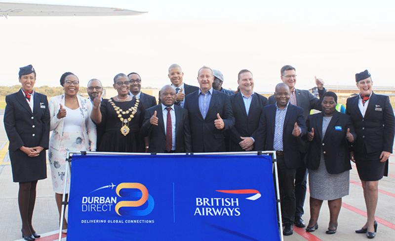 British Airways flight landing in Durban