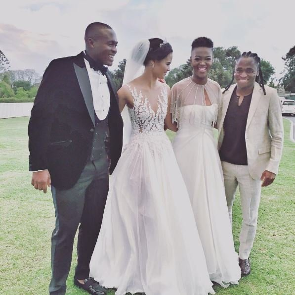 Former Miss SA slammed over wedding dress