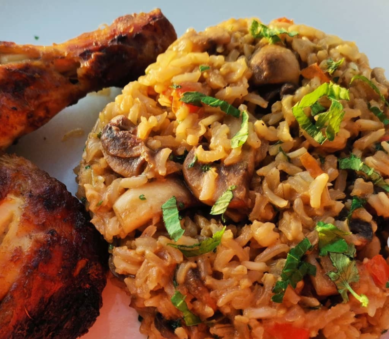 Toasted brown rice and mushroom