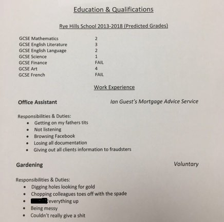 PICS: Teen\'s dad gets a bit too creative with her CV
