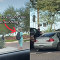 WATCH: A woman follows people to their cars and opens their car doors trying to get in with them...