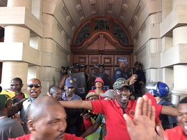 Abahlali marchers at the Durban City Hall