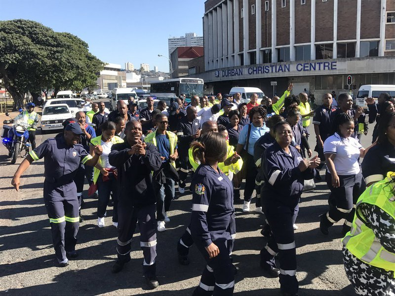 Durban march - forensic pathologists and EMS workers
