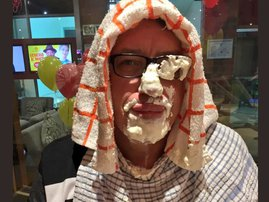 Darren gets pie faced for ECR birthday