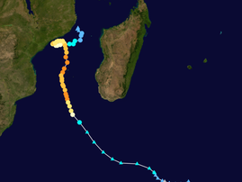 Route of a cyclone along east africa