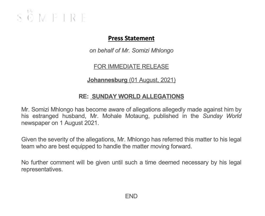 Somizi abuse allegations public statement