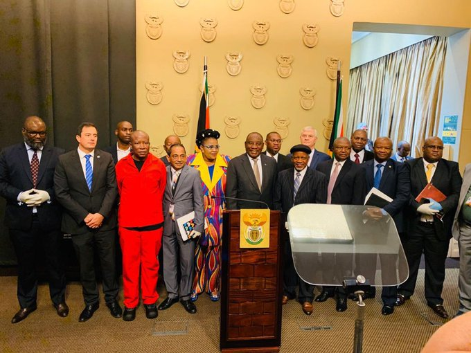 President Cyril Ramaphosa in a picture with political leaders including ACDP leader REV Kenneth Meshoe