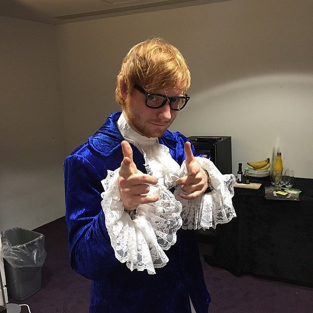 ed shereen dressed as Austin Powers