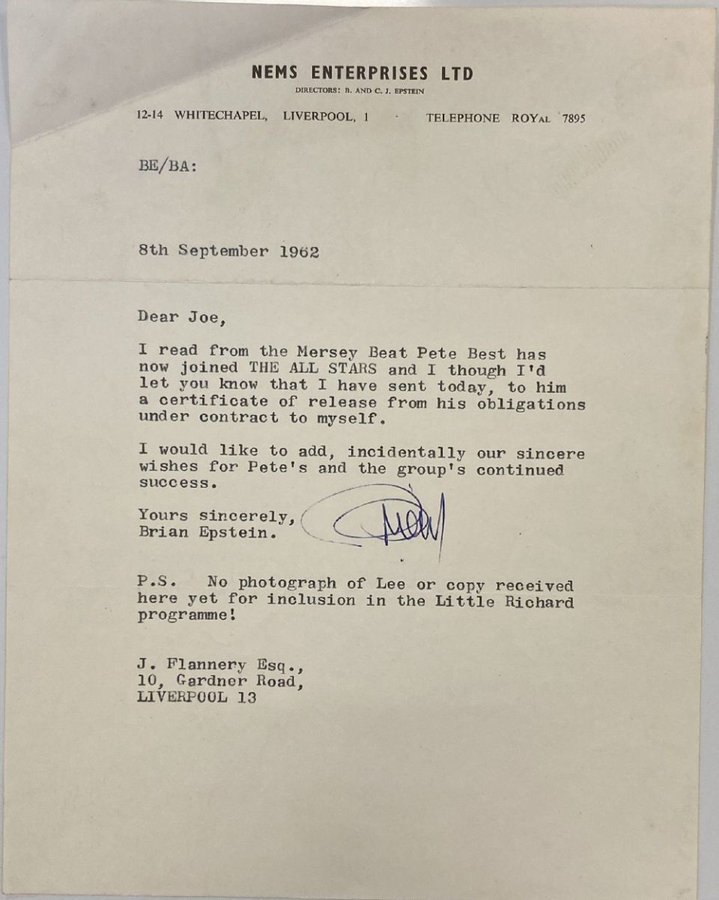 Letter from The Beatles' manager