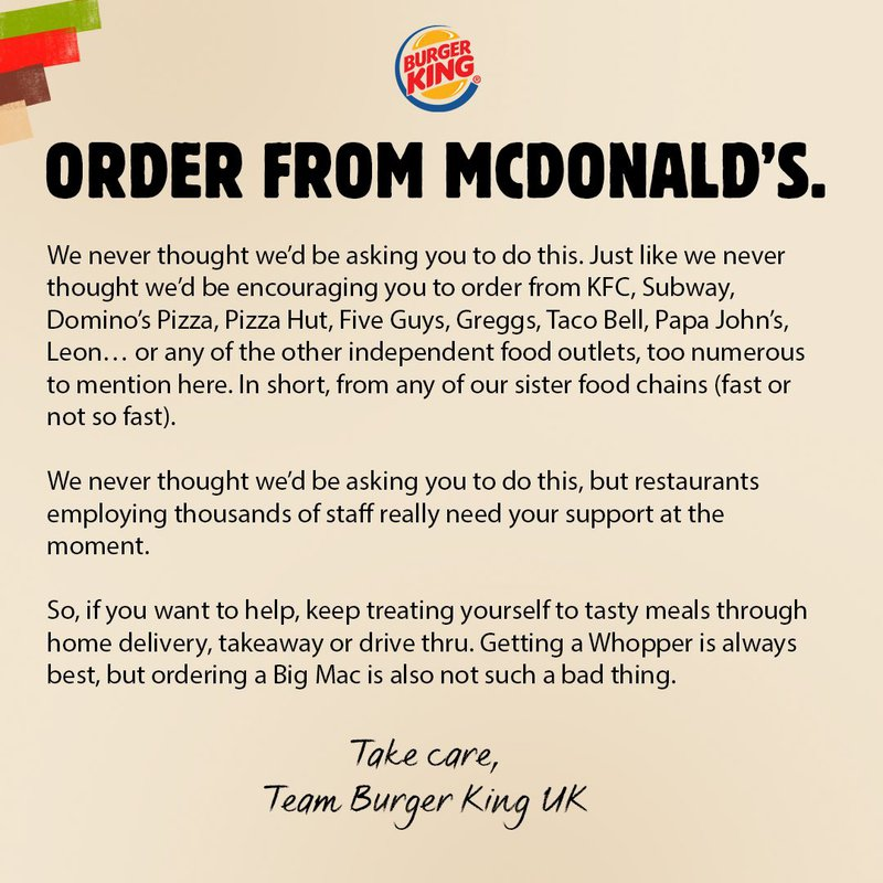 Burger King urges customers to order from McDonald's