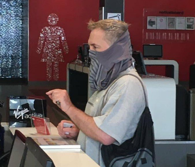 Man wears underwear as mask