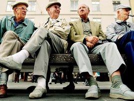 Elderly men sitting on bench