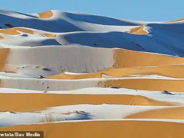 Snow on Sahara Desert