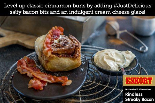 Bacon Cinnamon Buns with Cream Cheese & Vanilla Glaze
