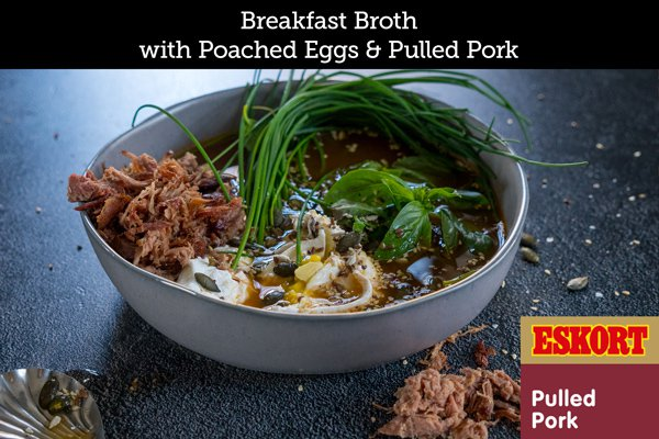Breakfast Broth with Poached Eggs & Pulled Pork