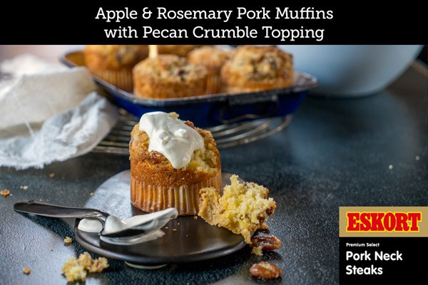 Apple & Rosemary Pork Muffins with Pecan Crumble Topping