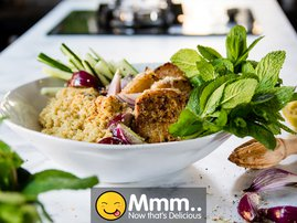 Spicy Harissa Pork Loin with Quinoa Salad
