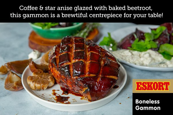 Star Anise and Coffee Glazed Gammon with Baked Rosemary and Black Pepper Beetroot