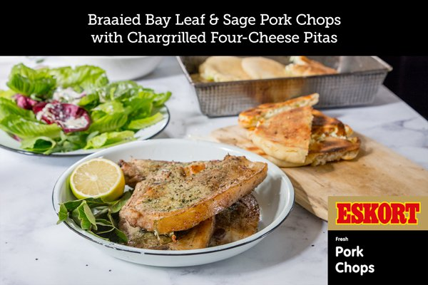 Braaied Bay Leaf and Sage Pork Chops with Chargrilled Four-Cheese Pitas
